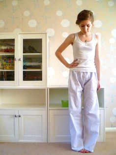 Womens pajama bottoms, white cotton with subtle god & silver pinstripes, white pyjamas, college lounge wear, womens pajamas, winter pyjamas
