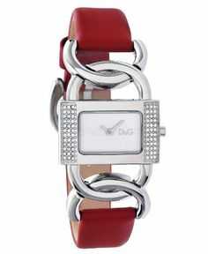 D&G Dolce & Gabbana Women's DW0565 Donna Rectangle Silver Stone Bezel Red Strap Watch D&G Dolce & Gabbana. $165.00. Limited lifetime warranty. Water-resistant to 165 feet (50 m). Solid stainless steel case, case back and crown. High grade genuine leather calfskin strap with solid stainless steel buckle. 2-hand japanese quartz movement