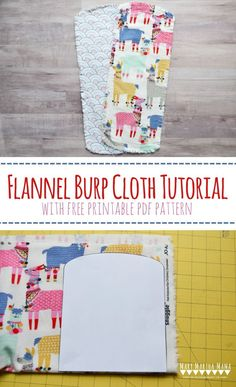 Simple & Chic Burp Cloth Pattern – Step by step tutorial for how to sew a burp cloth with free printable burp cloth pattern pdf - Mary Martha Mama #sewingpattern #sewingprojects
