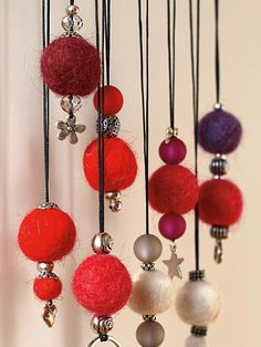 Needle Felting, Xmas, Christmas Ideas, Wind Chimes, Drop Earrings, Sewing, Kiefer, Outdoor Decor, Felt Projects