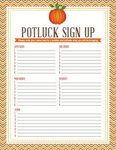 printable potluck sign up sheet free printables templates