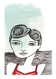 Blue and Red Swimmer 8.5x11in Print by kristensolecki on Etsy, $24.00
