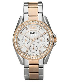 Fossil Watch, Women's Chronograph Riley Two Tone Stainless Steel Bracelet 38mm ES2787 - Fossil - Jewelry & Watches - Macy's