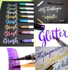 Glitzer-Brushpens und Stifte für dunkles Papier  Brushpens für helle Papiere sind schnell mal gefunden und es gibt dergleichen eine gute Auswahl an Produkten am Markt. Heute zeige ich dir aber, mit welchen Stiften du auf dunklen Papieren arbeiten und wie du deine Projekte mit Glitzer- und Metallicstiften aufpeppen kannst. Marker, Eyeshadow, Amazing, Metallic, Calligraphy, Dyes, Black Paper, Gifts For Children, Darkness