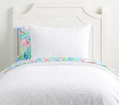 Pottery Barn Kids Lilly Pulitzer Ocean Eyelet Duvet Cover, Twin, White - Kids Bedding Basics & Accessories - Bedding Looks Cute Teen Rooms, Kid Rooms, Baby Rooms, Dorm Rooms, Teen Girl Bedrooms, Nursery Bedding, Bedding Decor, Baby Furniture, Linen Bedding