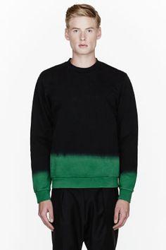 Raf Simons Black & Green Ombre Sweatshirt for men   SSENSE