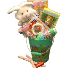 Happy Easter Gift Pail! Here comes Peter Cotton Tail, hopping down the bunny trail, bringing boys and girls the Happy Easter Gift Pail. Be Peter Cotton Tail to all your favorite boys and girls by sending the Happy Easter Gift Pail this Easter season! #easter #basket #eggs #bunny #holiday #kids #diy #fun