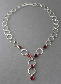 Sterling silver necklace, Carnelian Necklace, circles, circular, Forever, Holiday gift by tladesigns on Etsy