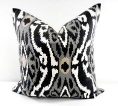 Black Pillow cover. Sherpa Mercury  sham by TwistedBobbinDesigns