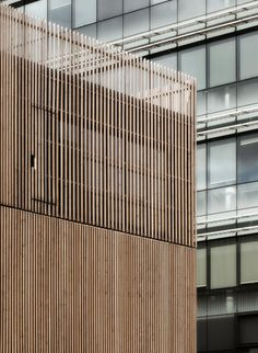 Image 9 of 21 from gallery of Saint Denis Archives Building / Antonini + Darmon Architectes. Courtesy of Antonini + Darmon Architectes Architecture Design, Architecture Art Nouveau, Timber Architecture, Timber Buildings, Facade Design, Timber Battens, Timber Screens, Timber Cladding, Timber Fencing