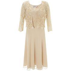 Compre Gina Bacconi Chiffon corpete plissado Vestido, EM Bege online johnlewis.com