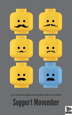 Movember Promotional Posters by Meagan Murray, via Behance #movember #support #cancer #lego