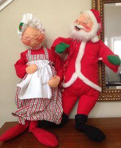 "Vintage Mobilitee ANNALEE DOLL Mr Claus Santa 1966 Mrs Claus 1971 Christmas 30"""