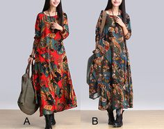 Two Colors Women Maxi Dress  This dress is made of high quality material, soft and breathy, so loose dresses to make you comfortable all the time. (33-5)  ★Color A B  Sizes for option as...