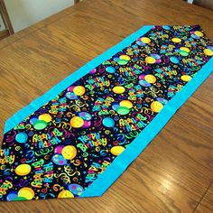 Birthday Table Runner in Bright Colors and by threadsandthings1, $12.00