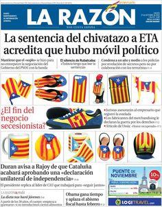 Los Titulares y Portadas de Noticias Destacadas Españolas del 17 de Octubre de 2013 del Diario La Razón ¿Que le pareció esta Portada de este Diario Español?