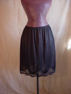 Vtg Adonna Half Slip Black size Large with Pretty Lace at hem knee length S187 #Adonna #HalfSlips Seller florasgarden on ebay