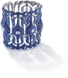 An impressive sapphire and diamond Nautilus cuff