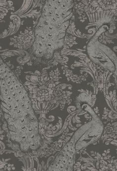 Byron (94/7039) - Cole & Son Wallpapers - Reflecting its name this is a romantic fruit damask with stunning detailed peacocks – with a mottled weather metallic effect. Shown in the silver grey metallic colourway. Please request sample for colour match. Paste the wall.