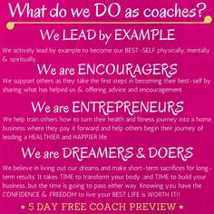 5 DAY FREE COACH PREVIEW  Want to know more about coaching?    I am hosting a 5 DAY SNEAK PEEK PREVIEW.   Friend request me on facebook if you would like to be added. https://www.facebook.com/smarzoratiweiss or visit me on the web at https://www.beachbodycoach.com/stacee74