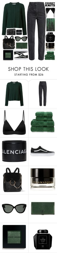 """Chunky Knits / 224"" by dddawn ❤ liked on Polyvore featuring Ryan Roche, Vyayama, Christy, Balenciaga, Vans, Chloé, Illamasqua, Linda Farrow, Hermès and Bobbi Brown Cosmetics"