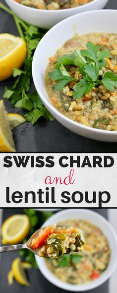Swiss Chard and Lentil soup - super easy and delicious! Vegetarian and Vegan! Best Soup Recipes, Healthy Soup Recipes, Chili Recipes, Vegan Recipes, Dinner Recipes, Cooking Recipes, Delicious Recipes, Healthy Food, Favorite Recipes