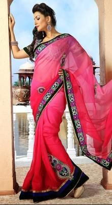 Flamboyant Deep Pink Embroidered Saree