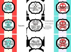 Toppers, Tent Cards, & Favor Boxes: Modern Pirate Party {INSTANT DOWNLOAD} Dunham Design Company
