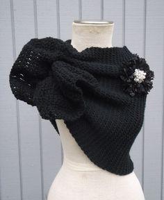 Wedding Shawl / Bride Bolero /Shrug /  black  Shawl with flowers / Custom Hand Knit