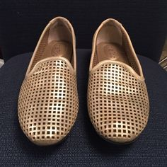 Yale Metallic Loafers Worn once. Really nice quality. Perforated material makes for a perfect look for spring. Cute with cropped jeans or dress pants. me too Shoes Flats & Loafers