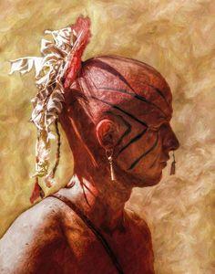 Shawnee Indian Warrior Portrait by Randy Steele