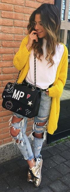 what to wear with an yellow knit cardi : white tee + bag + boyfriend jeans + sneakers