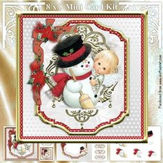Snowman &amp Angel by Mandy Kirby Three page mini kit includes- 8 inch square topper and two 3 inch square toppers insert sheet and decoupage sheetwith 7 tiles (one blank for your own text). Christmas Snowman, Christmas Cards, Christmas Ornaments, Printable Crafts, Card Kit, Decoupage, Knitting Patterns, Card Making, Teddy Bear