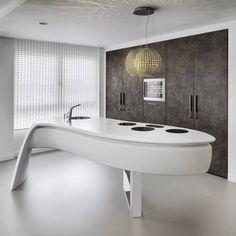 Dutch company Culimaat High End Kitchens have designed LEAF, a kitchen inspired by nature and made entirely of HI-MACS®.