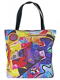 5a1e4451ccd Art tote bag with inside pocket and zipper top. Kandinsky Art