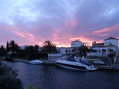 A beautiful sunset over one of Empuriabrava's many canals