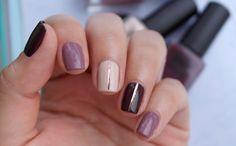 Manicura en tonos marrones con nail tapes: Sandstorm, RoseWood, RusticWine #NailArt #Manicure #NailPolishes #MIAIs5Free #Esmaltes