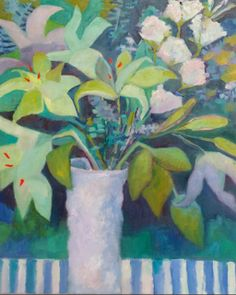 """Annie O'Brien Gonzales: Contemporary Abstract Still Life Flower Art Painting """"Green Lilies"""" by Santa Fe Artist Annie O'Brien Gonzales"""