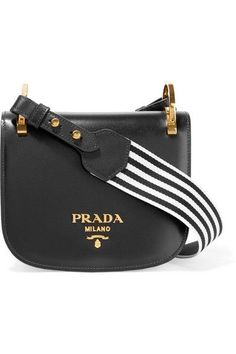 e939010a6c119 Prada Pionnière Canvas-Trimmed Leather Shoulder Bag in Black