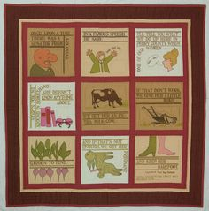 """Barefoot and Pregnant,"" 1987, by feminist quilter, teacher, author and Quilters Newsletter contributor Jean Ray Laury. She based it on a 1963 speech by an Arkansas state senator, but it's just as timely today."