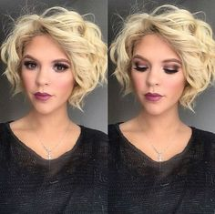 Blonde Bob Hairstyle with Curls
