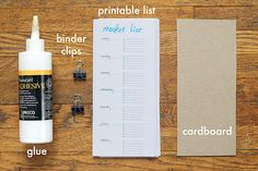 Materials needed for a printable grocery list