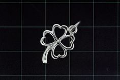 925 Sterling Silver Leaf Style Pendant w/ 4 Hearts (Stock)