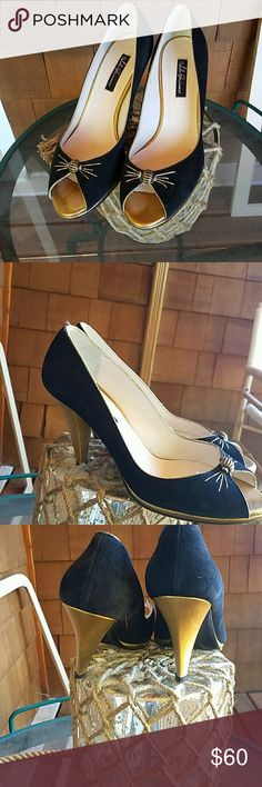 Lulu Guinness black + gold heels suede size 8 Barely worn suede and gold classy dress shoes by lulu Guinness Lulu Guinness Shoes Heels
