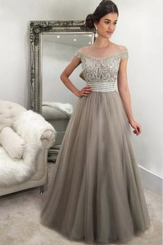 Sparkly Prom Dress, gray tulle beading off shouldera line long prom dress , These 2020 prom dresses include everything from sophisticated long prom gowns to short party dresses for prom. Princess Prom Dresses, Prom Dresses Online, Cheap Prom Dresses, Quinceanera Dresses, Homecoming Dresses, Sexy Dresses, Evening Dresses, Long Dresses, Modest Formal Dresses