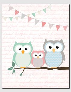 Baby Girl Nursery Art Mint Coral Owl Wall Art Kids by vtdesigns