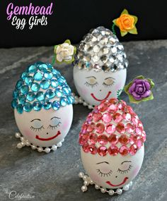 How about eggs with Easter bonnets? Craft eggs, rhinestones and pearls become Gemhead Egg Girls - a stylish, fun and ridiculously adorable holiday gift or Easte