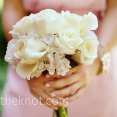 Bridesmaid Bouquet - All-white bouquets of roses, hydrangeas and calla lilies were simple and chic.