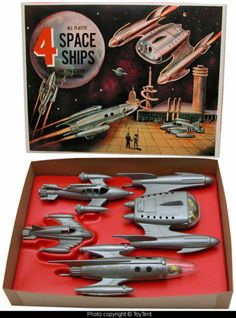 Pyro Plastics Space Fleet Set of 4 Rocket Spaceships | eBay