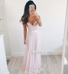 Cute pink chiffon lace sweetheart long prom dress 2016 for teens, modest prom dress long, evening dresses
